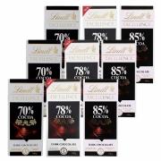 Kit 9x Chocolates Lindt 70%, 78% e 85% Amargo 100g Dark