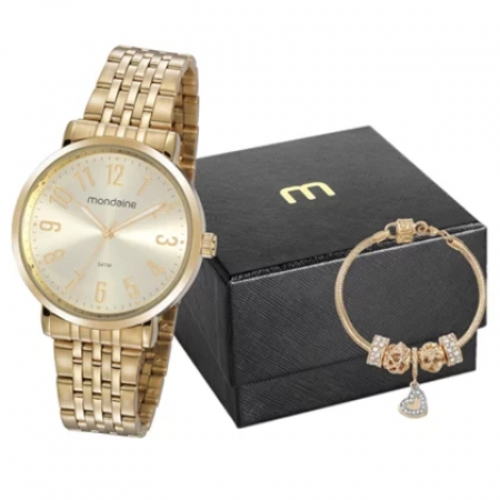 Kit Relógio Mondaine Feminino + Pulseira 32107LPMVDE1K2
