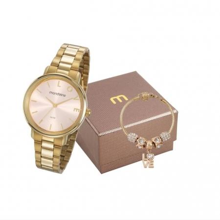 Kit Relógio Mondaine Feminino + Pulseira 53761LPMKDE1K1