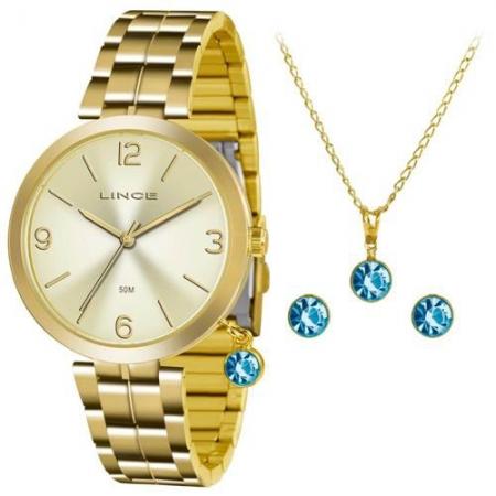 Relógio Lince Feminino Dourado Brinco+Colar LRG4458LKT68C2KX