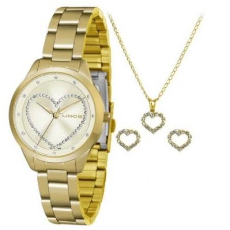 Relógio Lince Feminino Dourado Brinco+Colar LRG4557LKV11C1KX