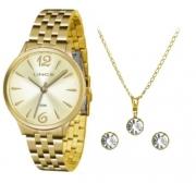 Relógio Lince Feminino Dourado Brinco+Colar LRGH047LKT91C2KX