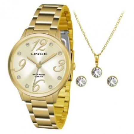 Relógio Lince Feminino Dourado Brinco+Colar LRGH074LKU43C2KX