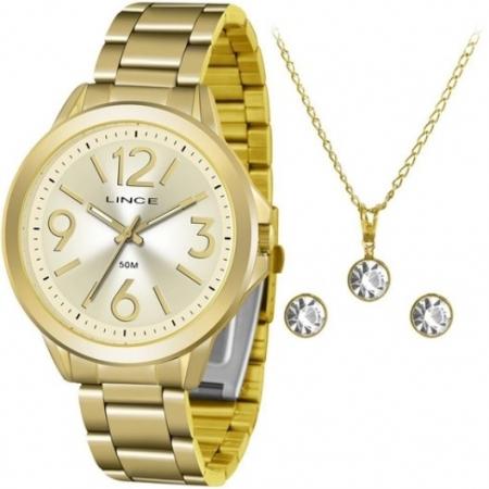 Relógio Lince Feminino Dourado Brinco+Colar LRGH089LKV50C2KX