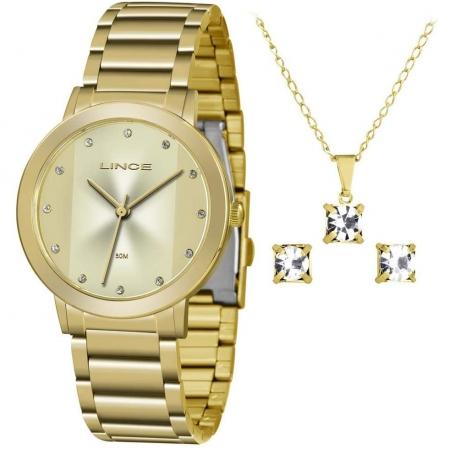 Relógio Lince Feminino Dourado Brinco+Colar LRGH099LKW46C1KX