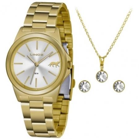 Relógio Lince Feminino Dourado Brinco+Colar LRGH125LKX23S1KX