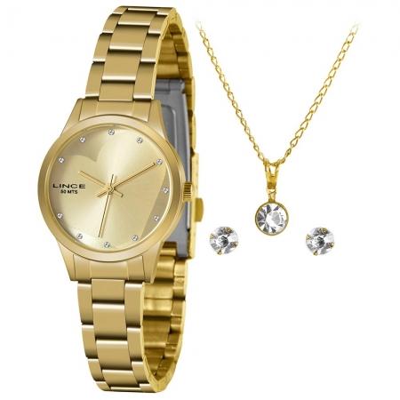 Relógio Lince Feminino Dourado Brinco+Colar LRGH143LKY31C1KX