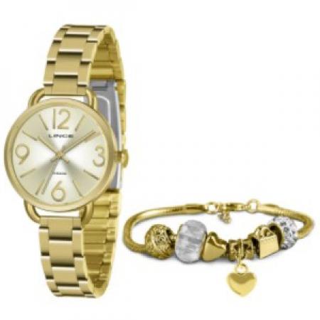 Relógio Lince Feminino Dourado + Pulseira LRGH148LKY44C2KX