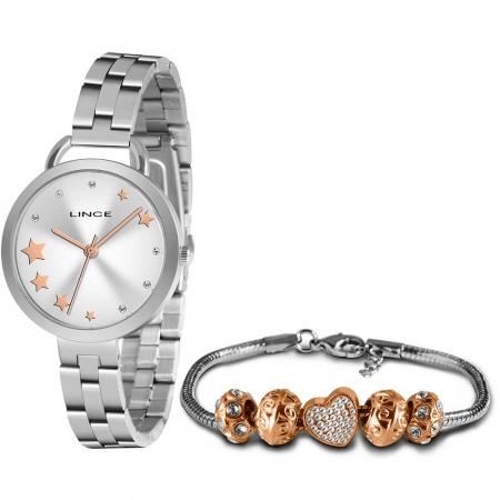 Relógio Lince Feminino Prata Brinco+Colar LRMH152LKZ11S1SX