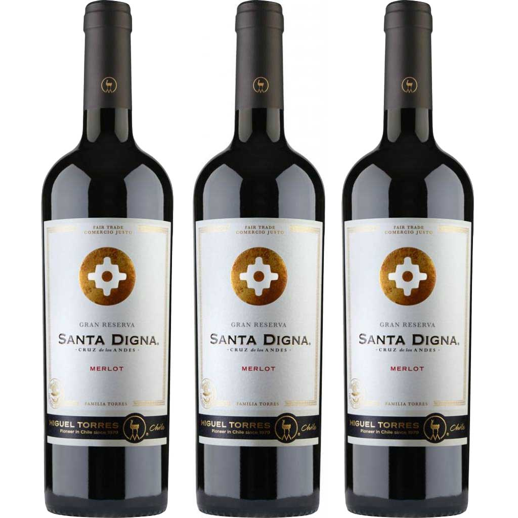 3x Vinho Tinto Chileno Miguel Torres Santa Digna Gran Reserva Merlot 2018 750ml