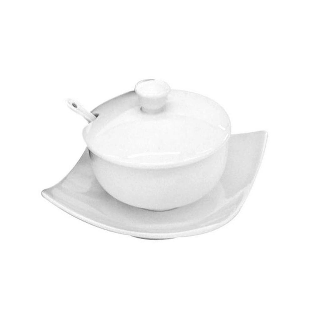 Açucareiro Porcelana Branca com pratinho e colher 10x10x7cm