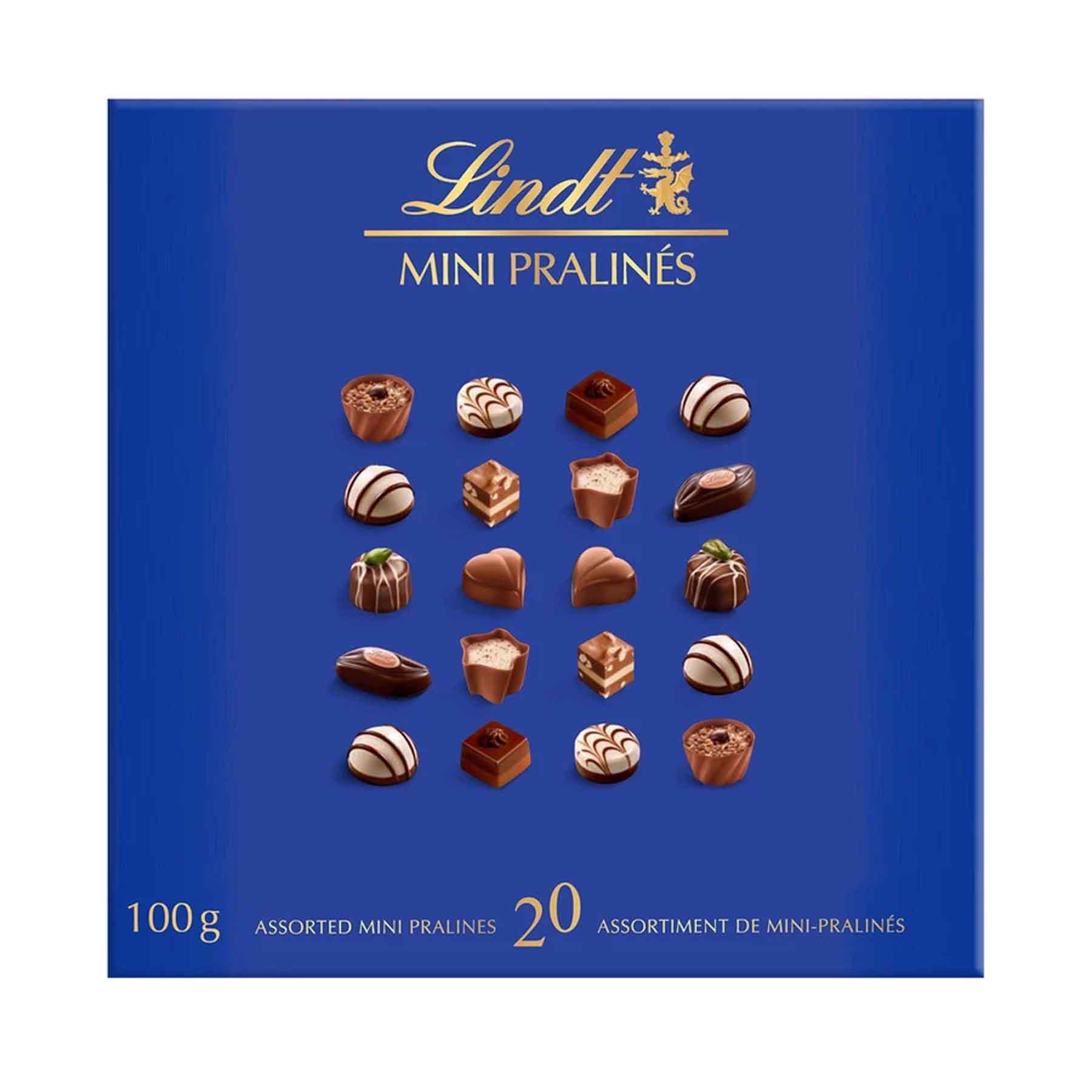 Caixa Chocolates Lindt Pralines Azul/Rosa 100g cada