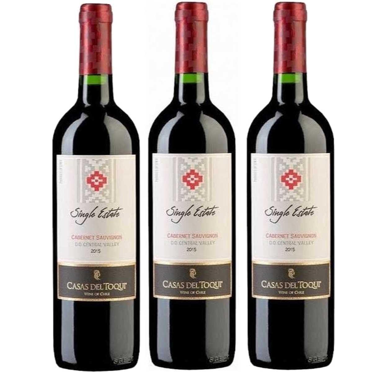 Cj 3 Vinho Tinto Chileno Casas Toqui Cabernet Sauvignon 2019