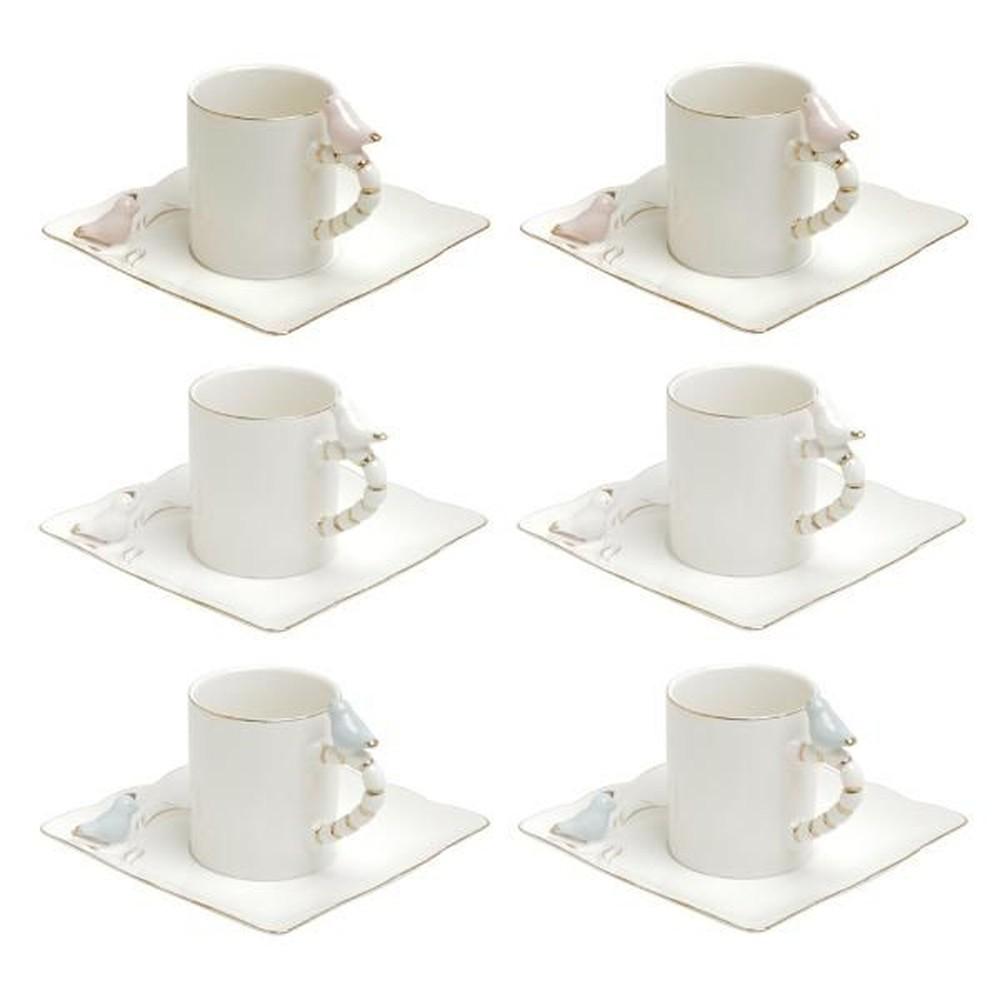 Conjunto 6 Xícaras de Café Birds Design Colorido 80ml Wolf