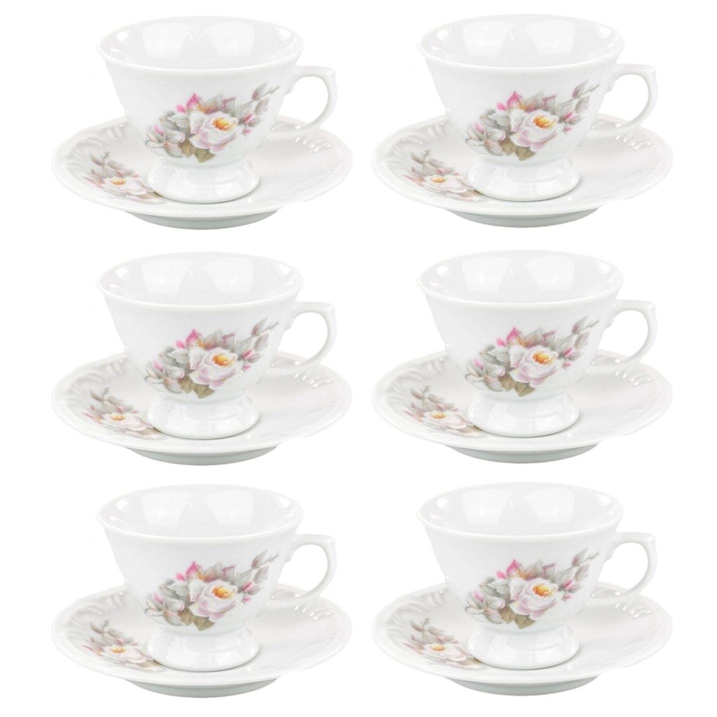 Conjunto 6 Xícaras de chá e pires Eterna Schimidt