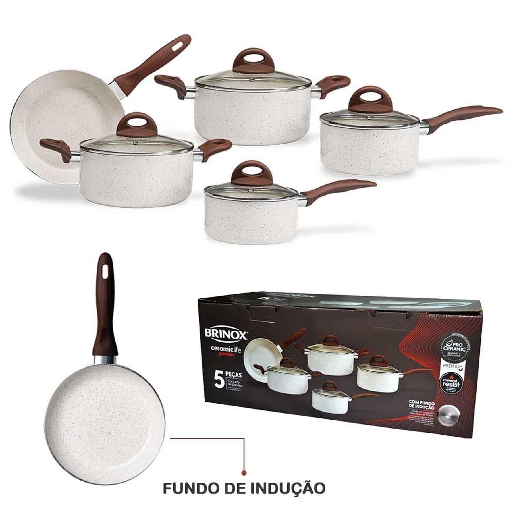 Conjunto de Panelas Brinox Ceramic Life Vanilla 5PC 4774/101