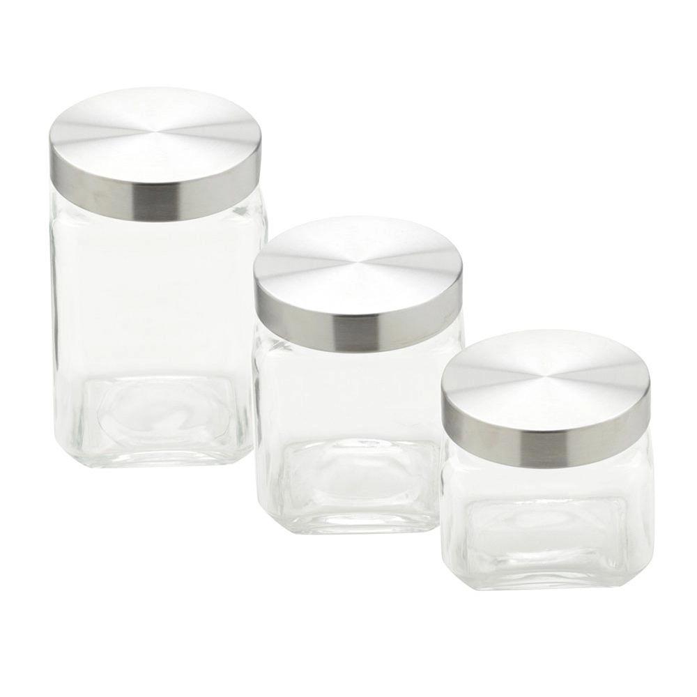 Conjunto de Potes de Vidro Quadrado 790ml/1,2L/1,6L