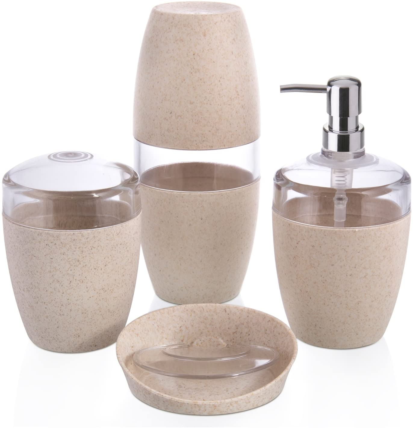 Conjunto pra Banheiro Eco Marfim <ou> 4 Peças Fibra Natural