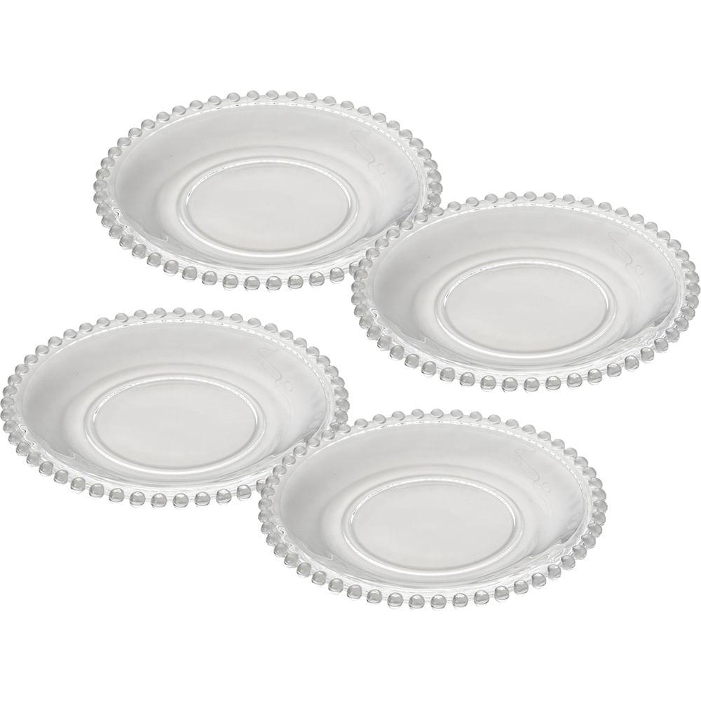 Conjunto Pratos de Cristal Pearl 4 Peças 20cm Rojemac