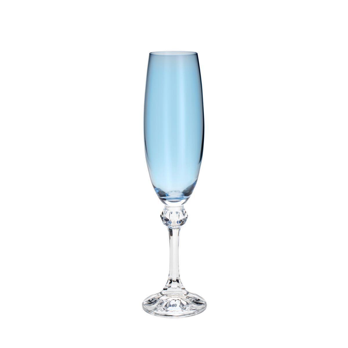 Conjunto Taça Champagne Elisa Turquesa 6 Peças Bohemia 220ml