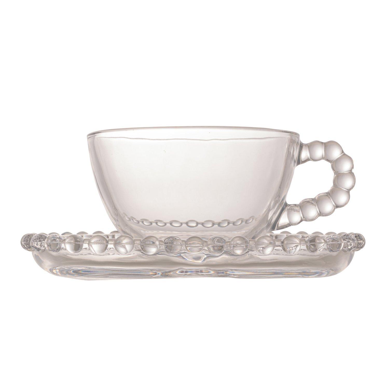 Conjunto Xícaras c/ Pires Chá Pearl 4 Peças 180ml Rojemac