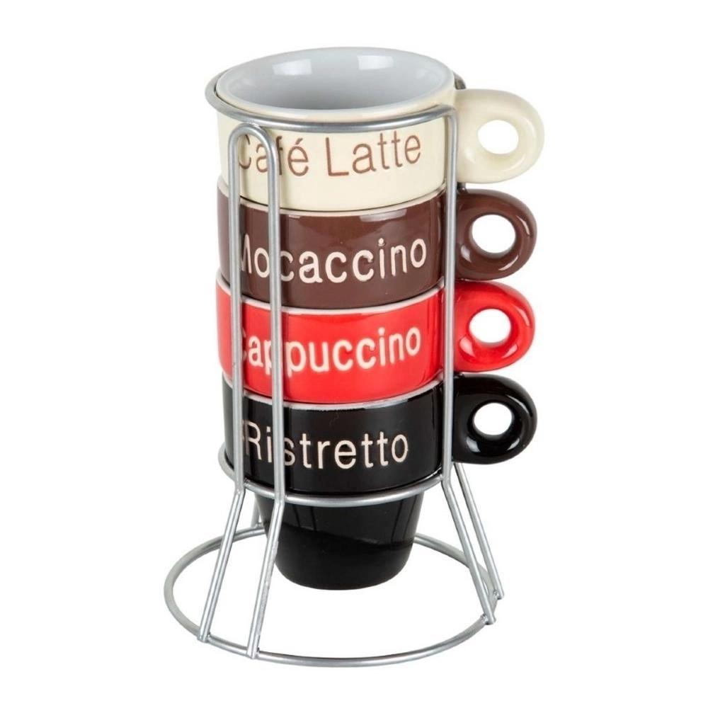Conjunto Xícaras de Café + Suporte Colorido 70ml Bon Gourmet