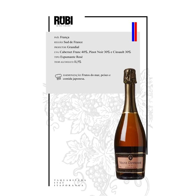 Espumante Francês Veuve Devienne Rosé Sec 750ml