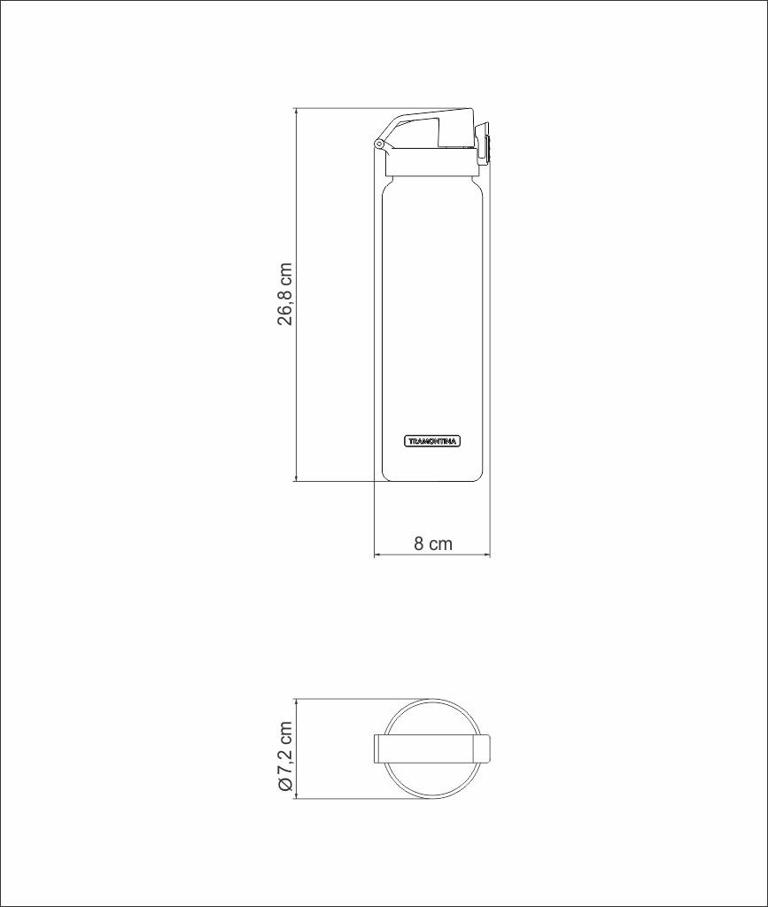 GARRAFA TRAMONTINA EXATA CINZA EM TRITAN COM PAREDE SIMPLES 0,9 L 61646083