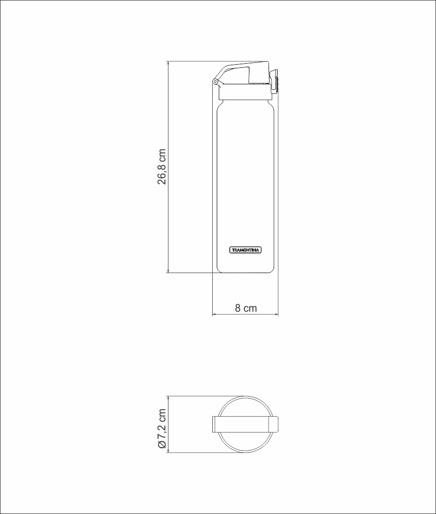 GARRAFA TRAMONTINA EXATA LARANJA EM TRITAN COM PAREDE SIMPLES 0,9 L 61646085