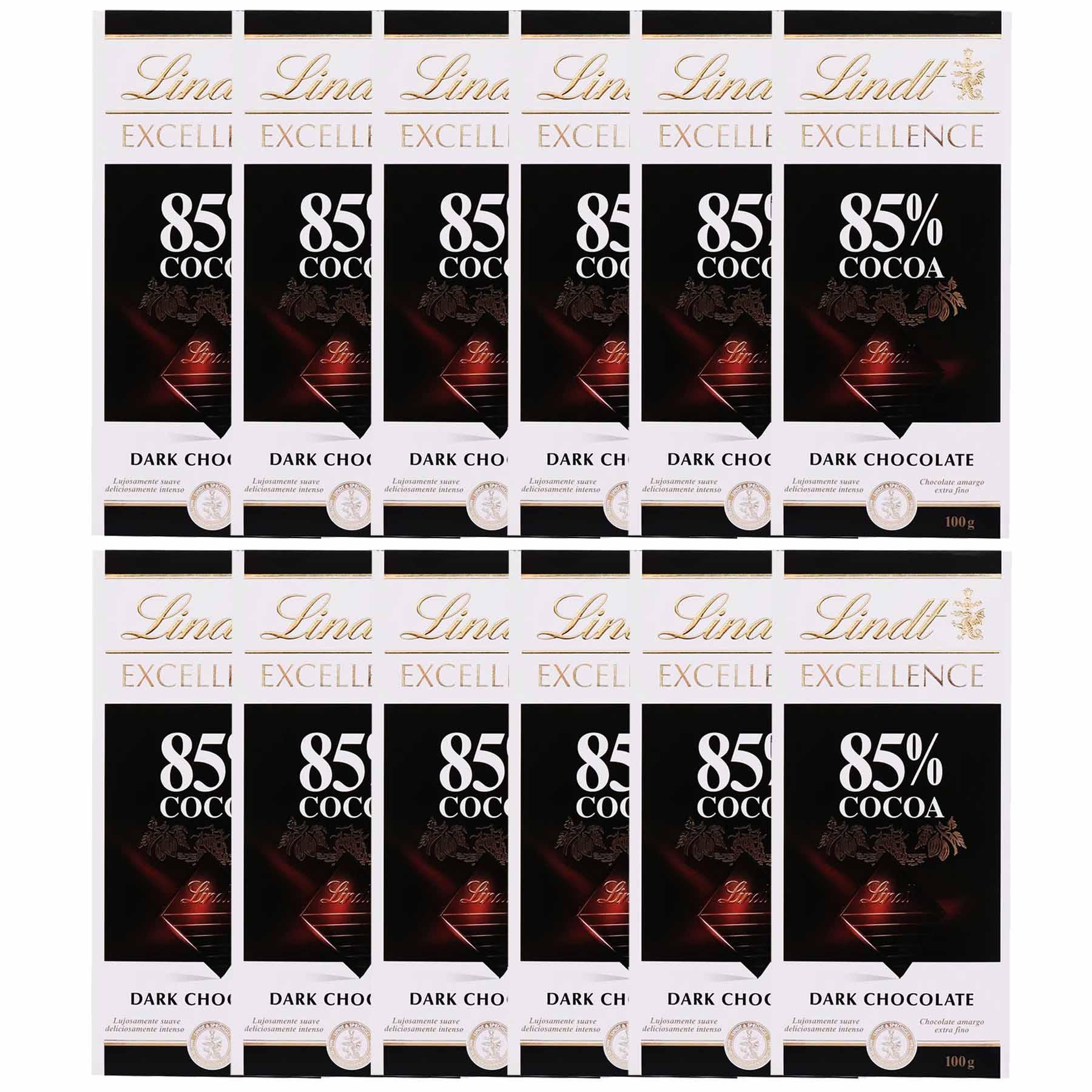 Kit 12x Barra de chocolate Lindt 85% Amargo 100g Dark
