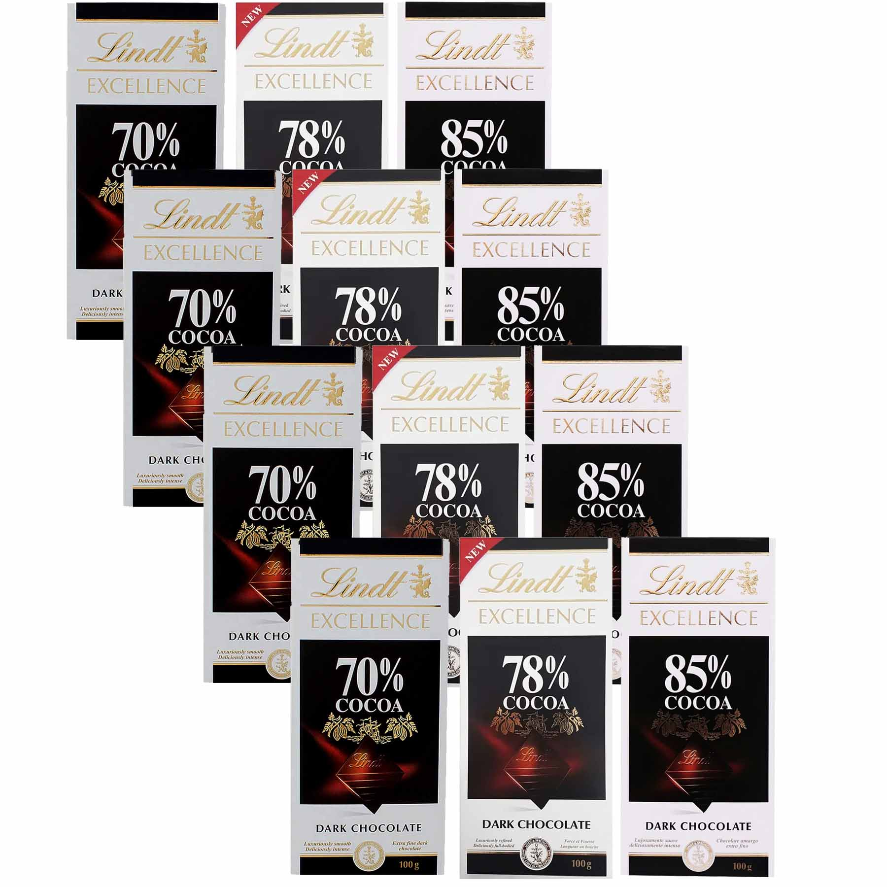 Kit 12x Chocolates Lindt 70%, 78% e 85% Amargo 100g Dark