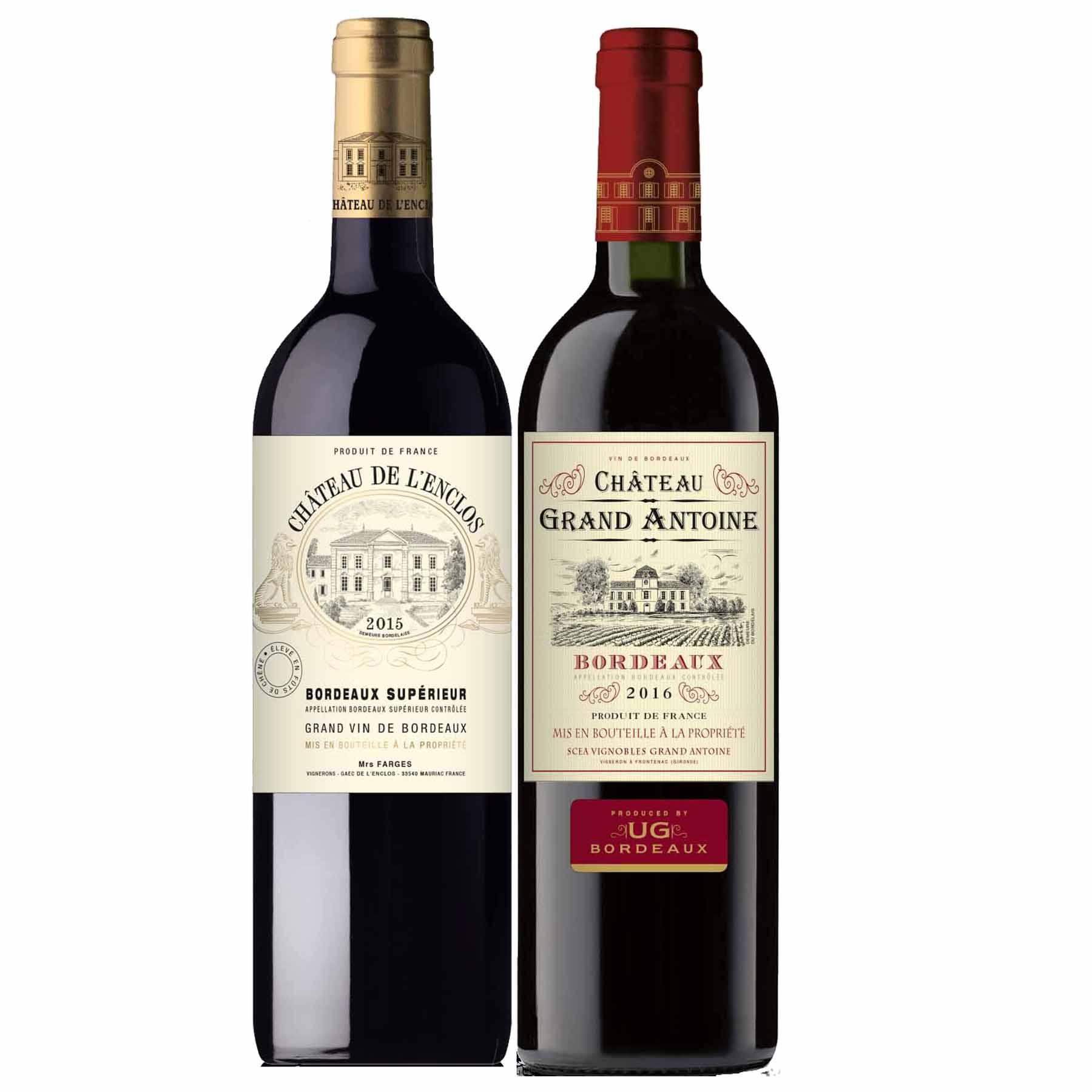 Kit 2 Vinhos Bordeaux: Bordeaux e Bordeaux Supérieur França