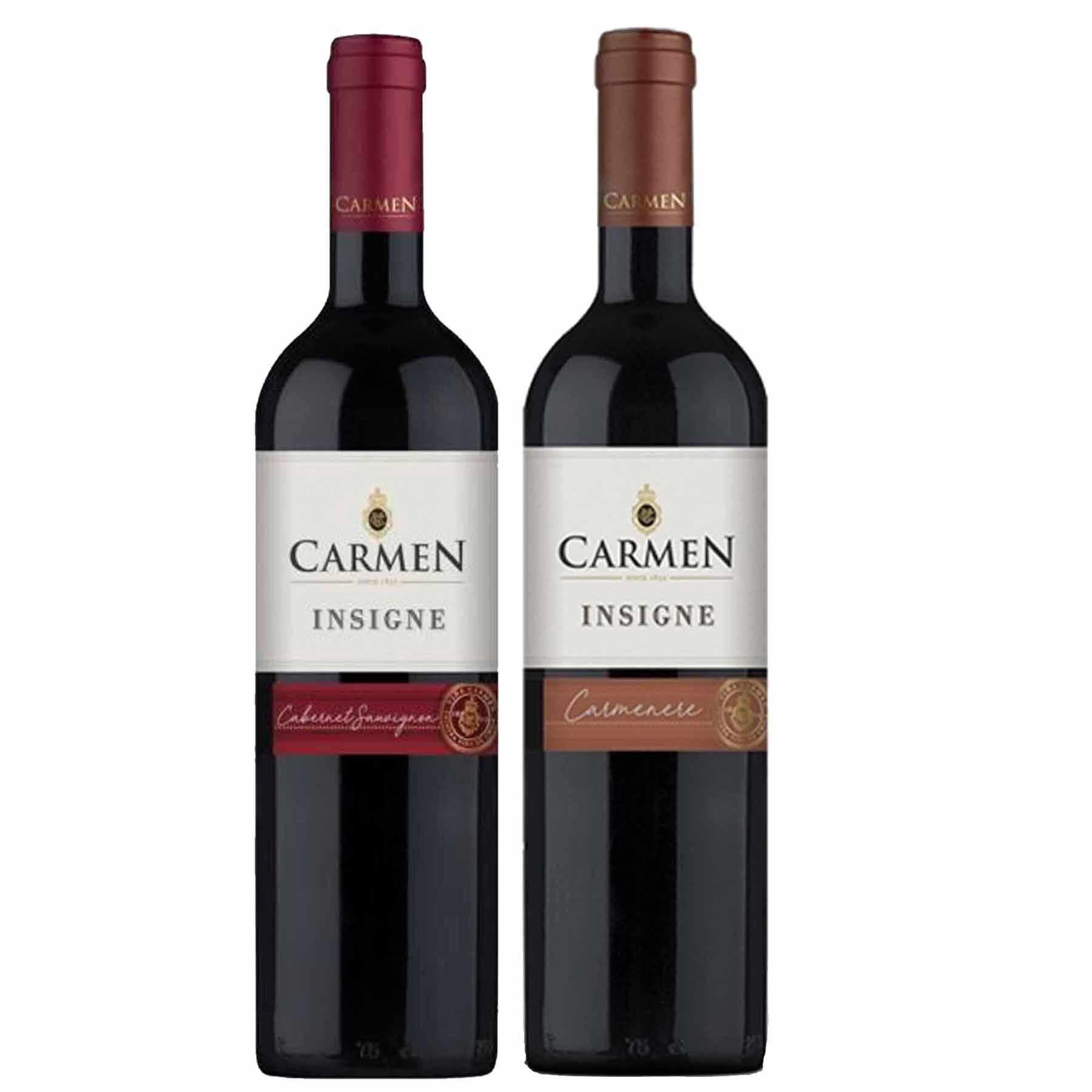 Kit 2 Vinhos Chilenos Carmen Insigne Cabernet Sauvignon e Carmenere