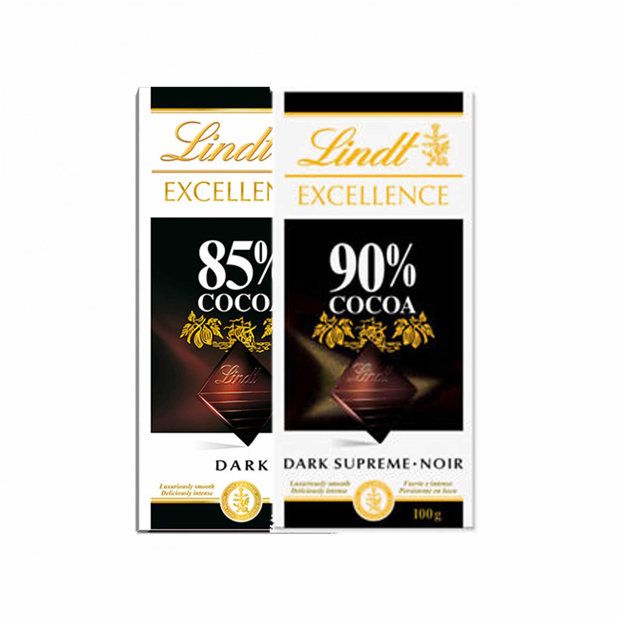 Kit 2x Barra de chocolate Lindt Excellence 85% e 90% Amargo 100g Dark