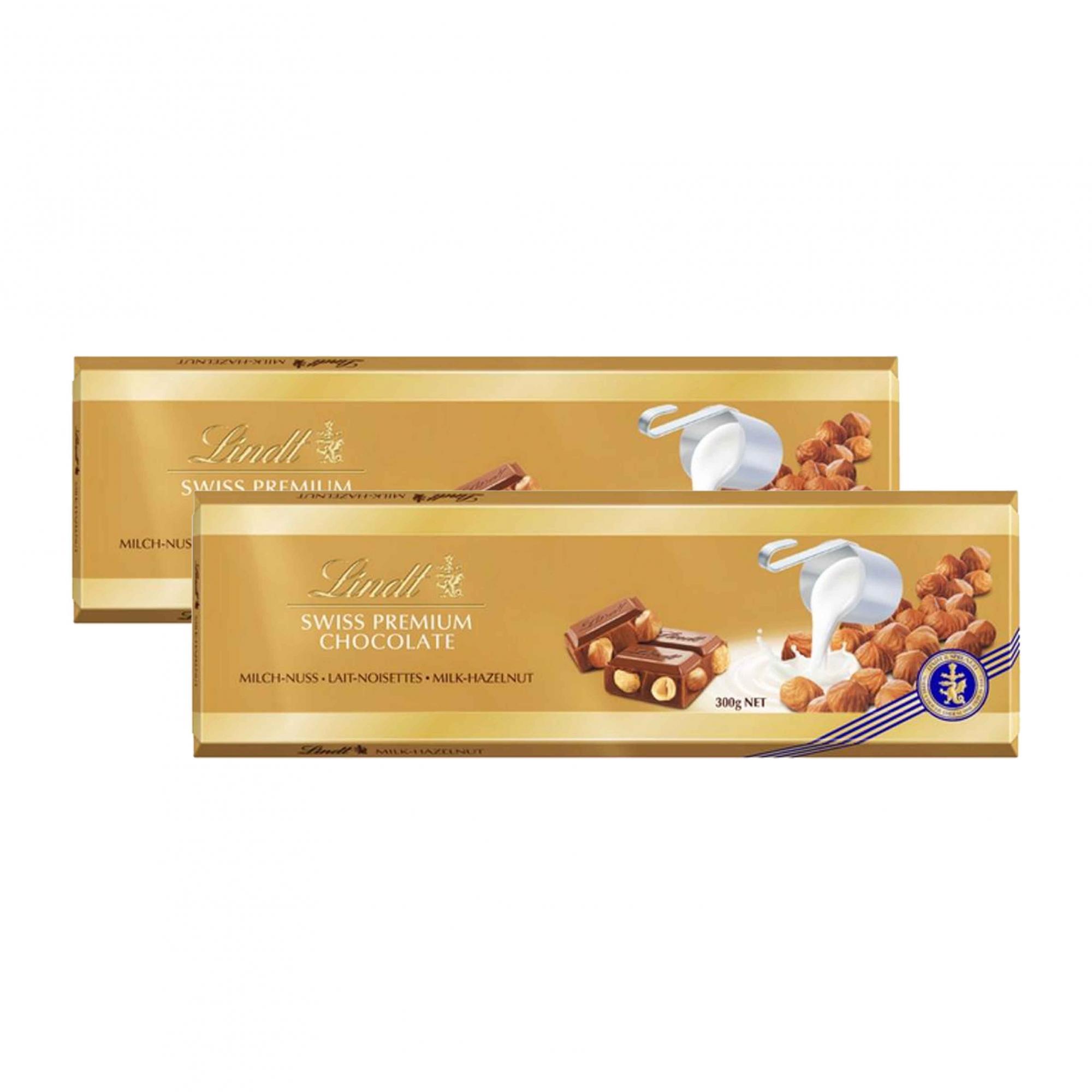 Kit 2x Chocolate Lindt Barra ao Leite com Avelãs (Milk+Hazelnut) 300g