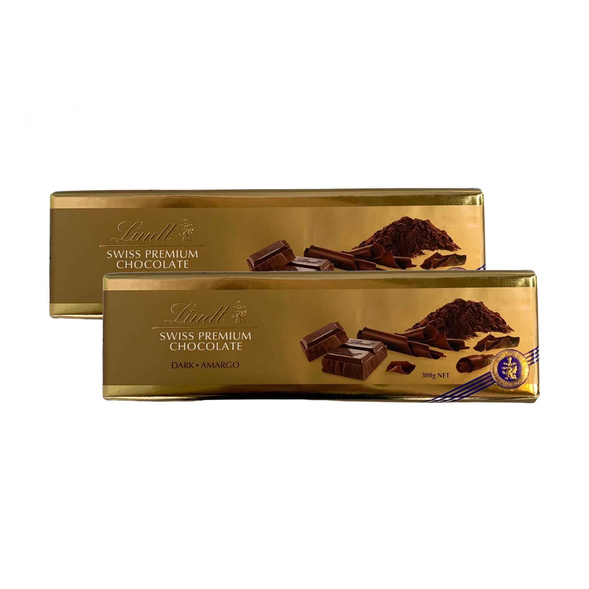 Kit 2x Chocolate Lindt Gold Bar Dark (Meio Amargo) 300g