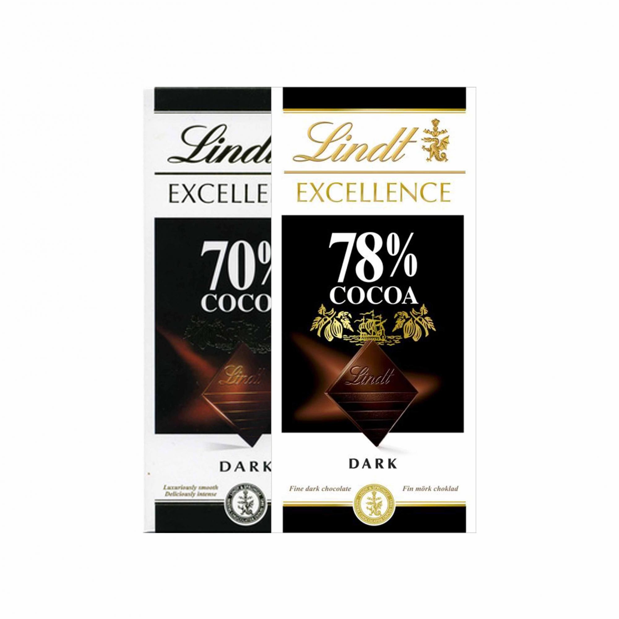 Kit 2x Chocolates Lindt 70% e 78% Amargo 100g Dark