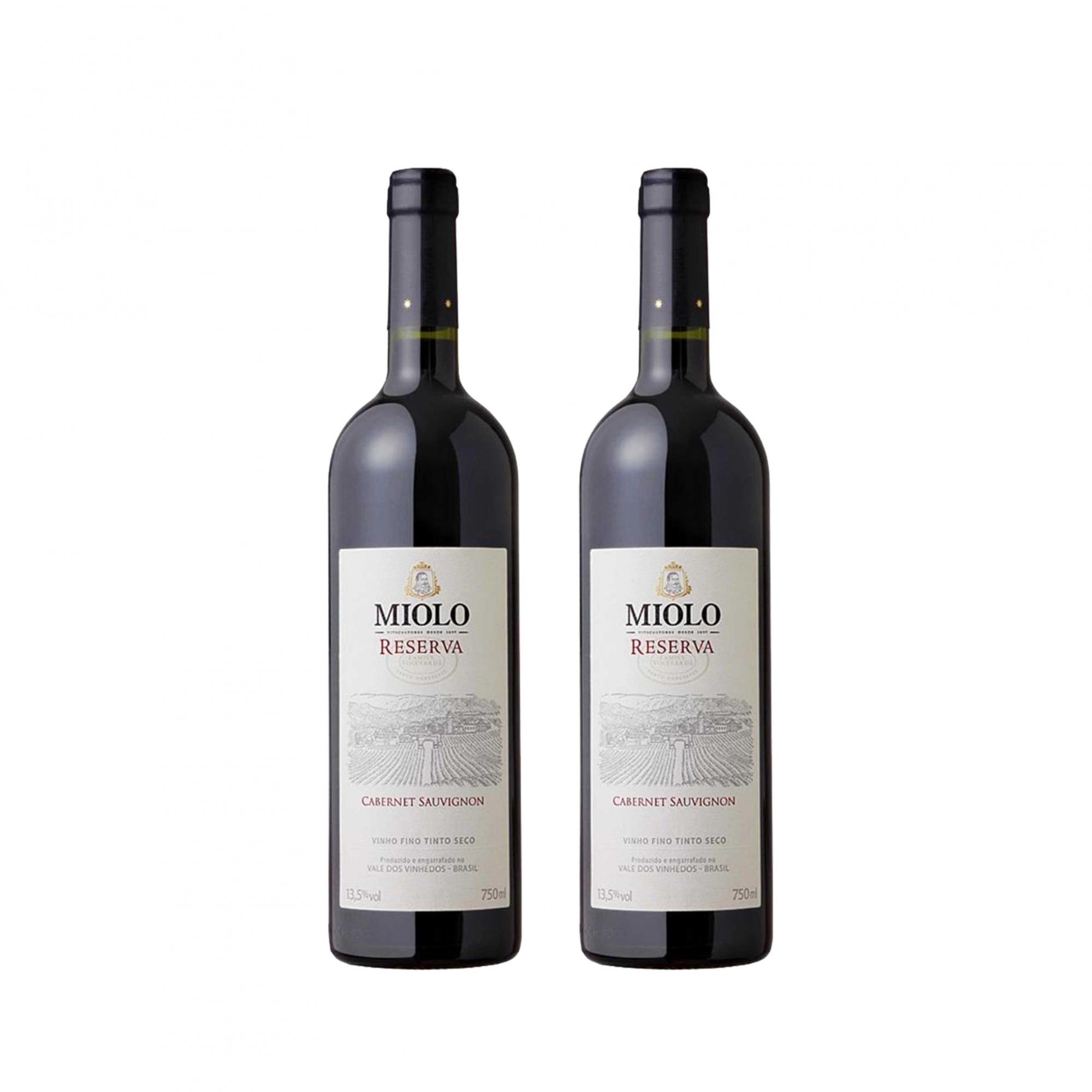 Kit 2x Vinho Brasileiro Tinto Miolo Reserva Cabernet Sauvignon 750ml