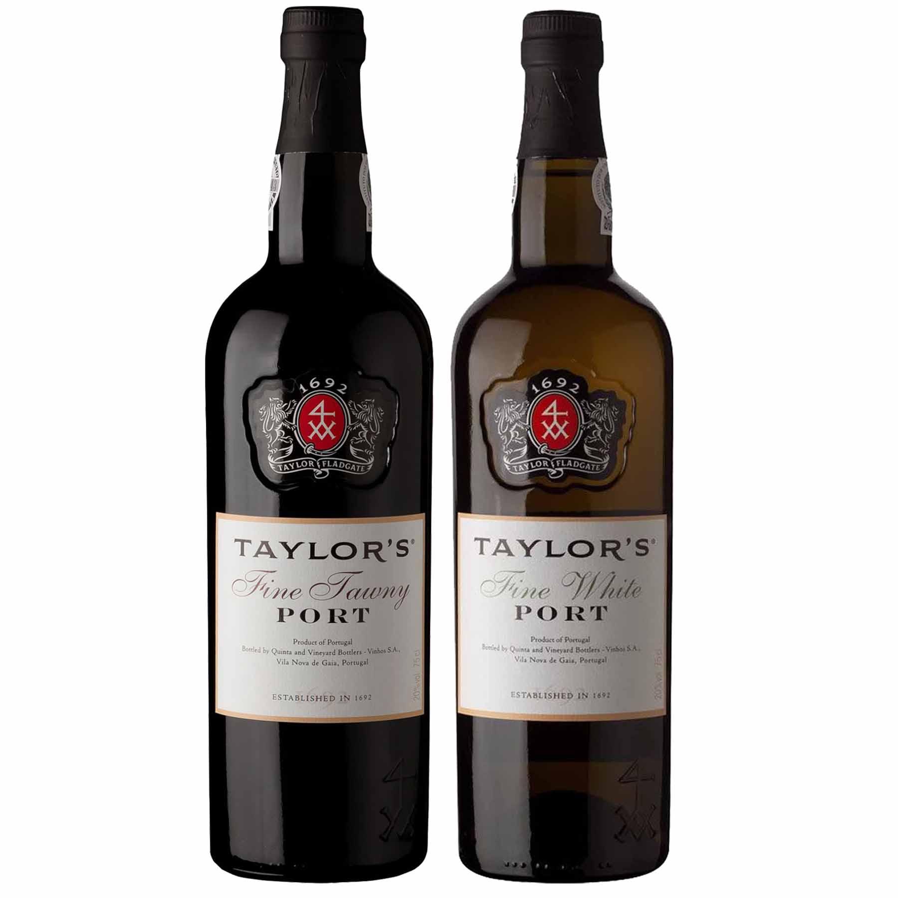 Kit 2x Vinho do Porto Taylor's White Fine + Tawny 750ml
