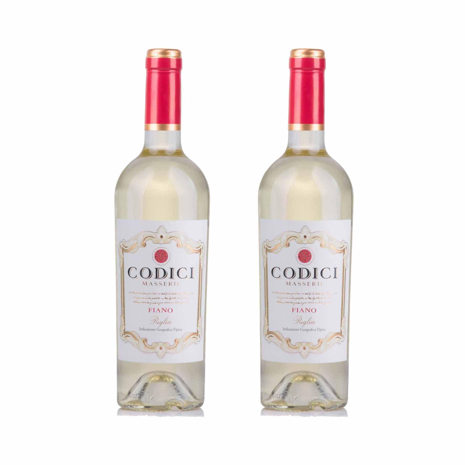 Kit 2x Vinho Italiano Branco Codici Fiano Puglia 2019