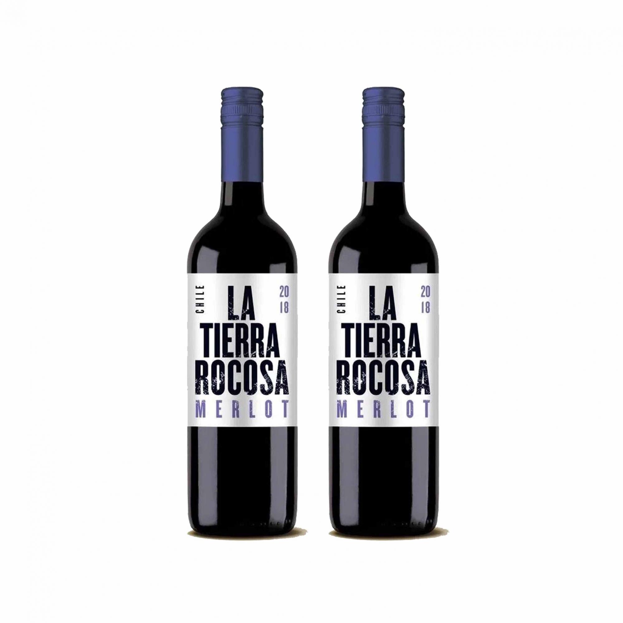 Kit 2x Vinho Tinto Chileno La Tierra Rocosa Merlot 2019