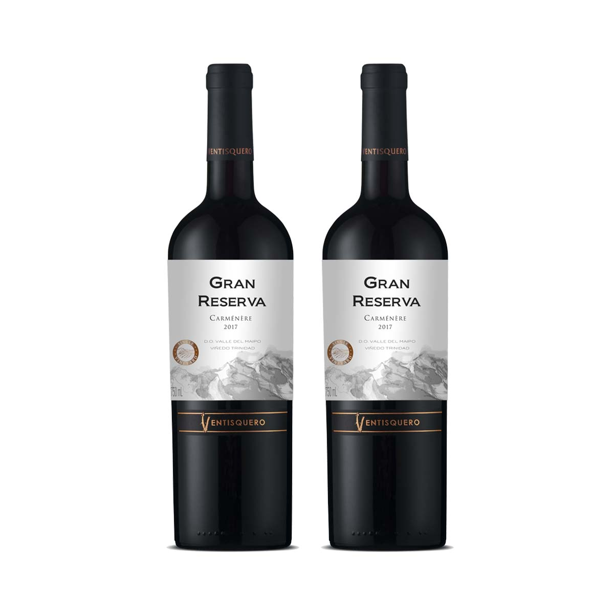 Kit 2x Vinho Tinto Chileno Ventisquero Gran Reserva Carmenere 750ml 2018