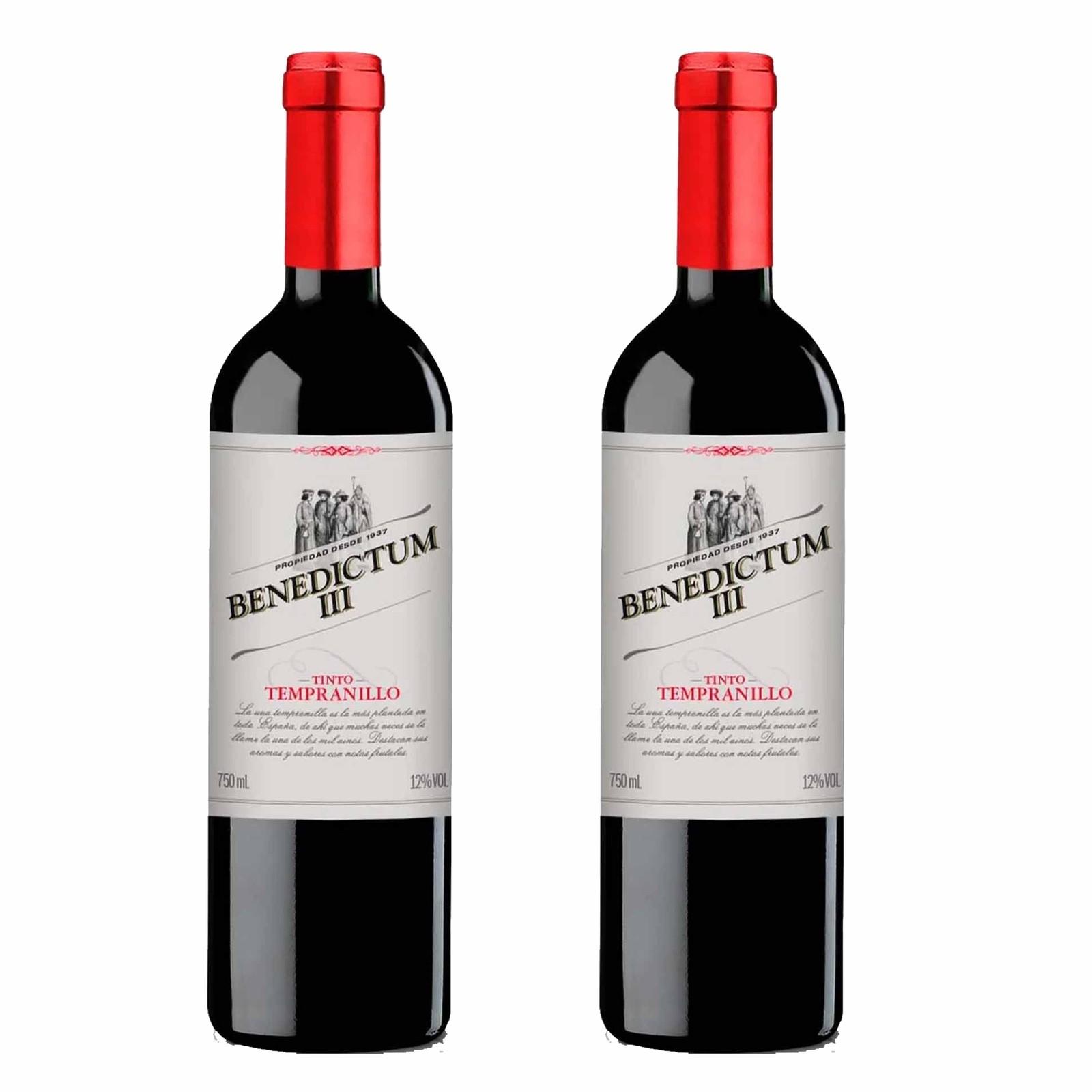 Kit 2x Vinho Tinto Espanhol Benedictum III Tempranillo 2019 750ml