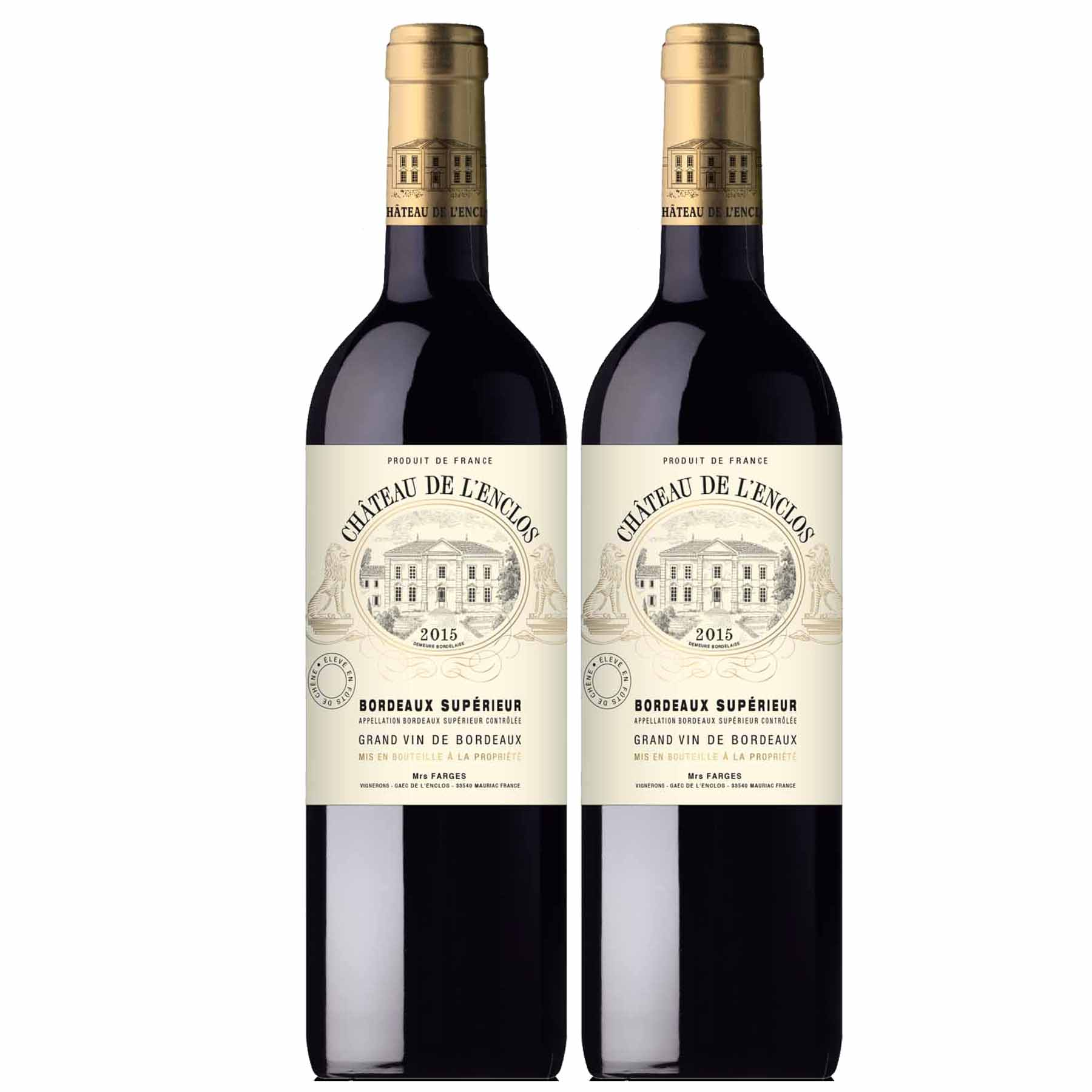 Kit 2x Vinho Tinto Francês Château De L'enclos Bourdeaux Supérieur 2015