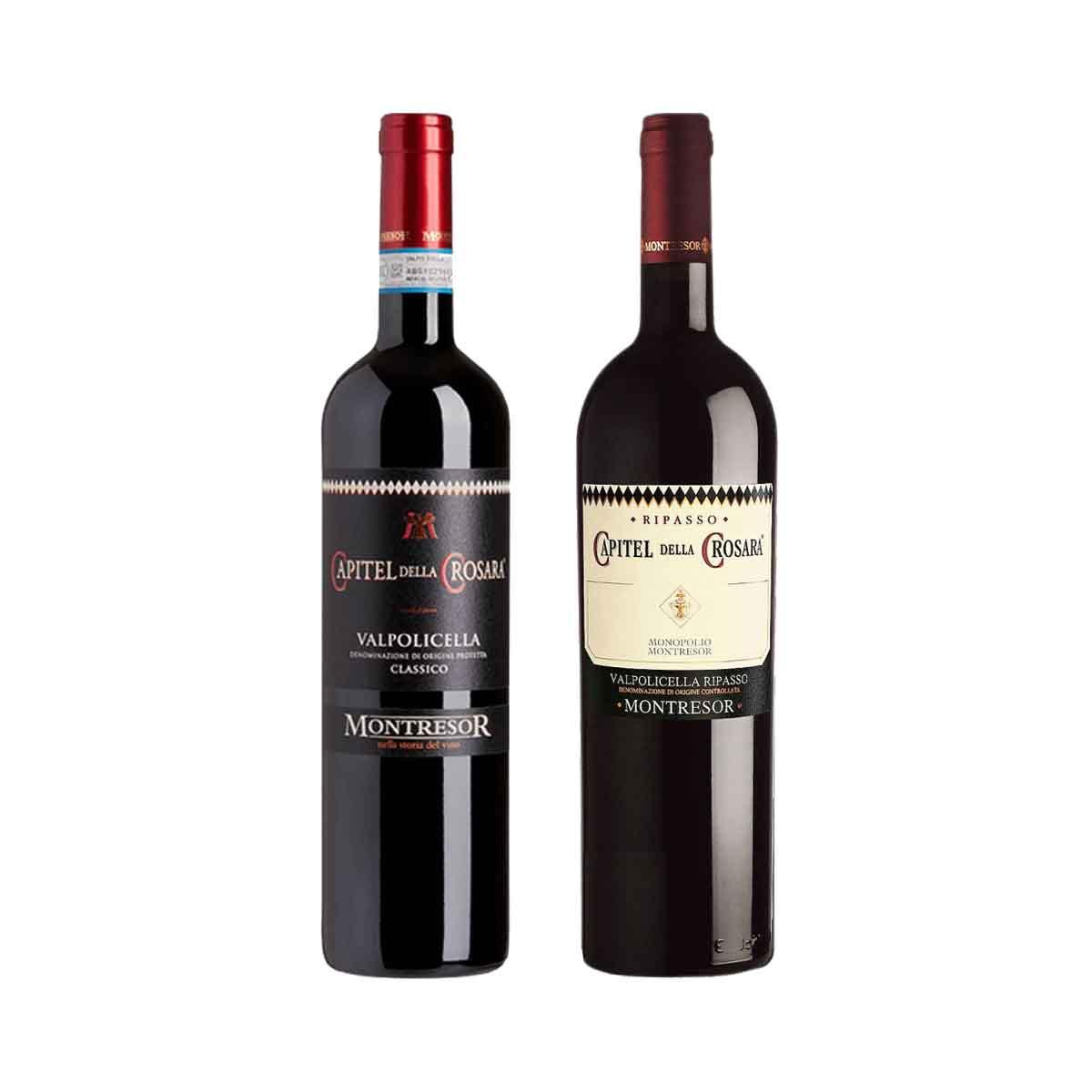 Kit 2x Vinho Tinto Italiano Montresor Capitel Della Crosara Valpolicella Classico/Ripasso 750ml