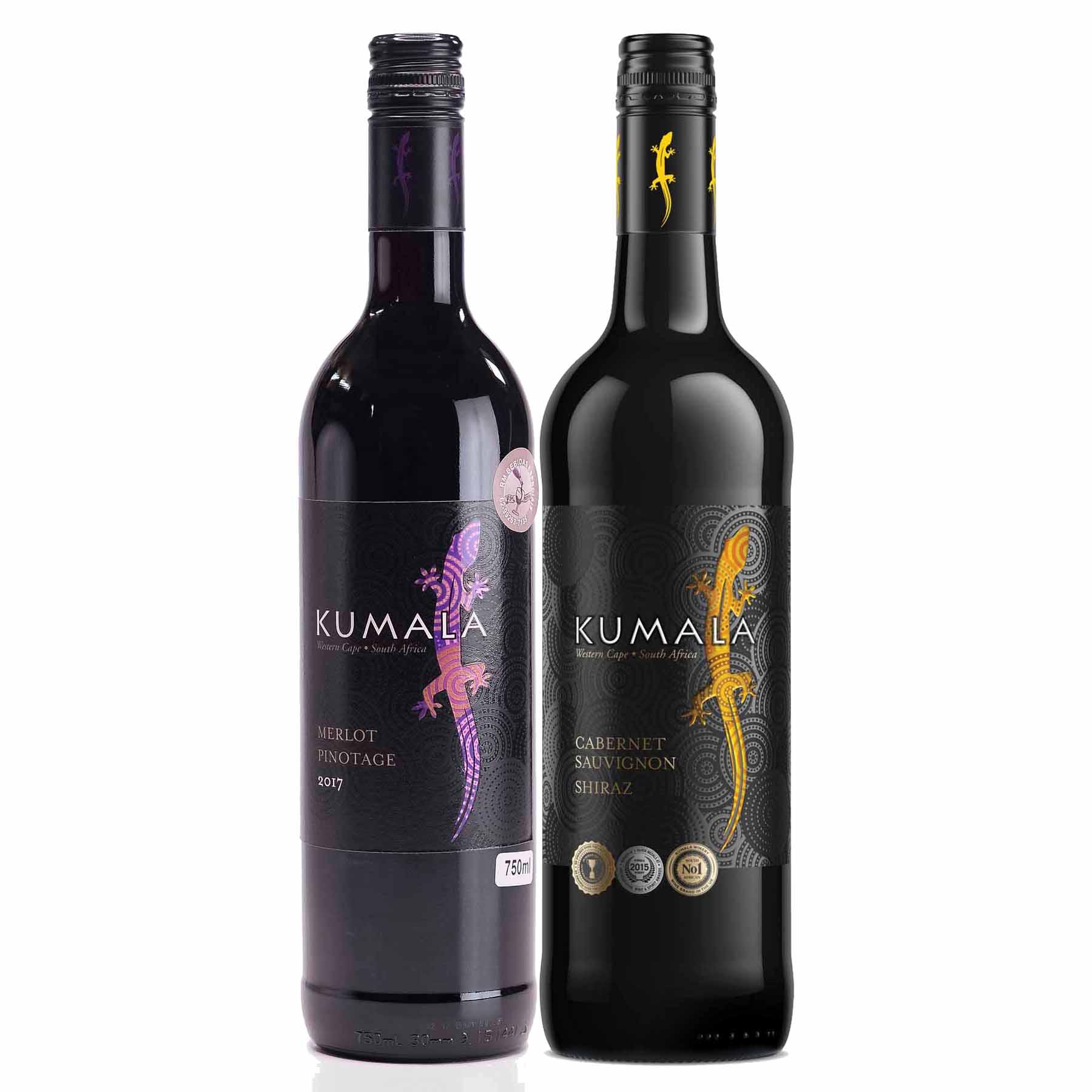 Kit 2x Vinho Tinto Sul Africano Kumala Merlot/Pinotage e Cabernet/Shiraz 2019