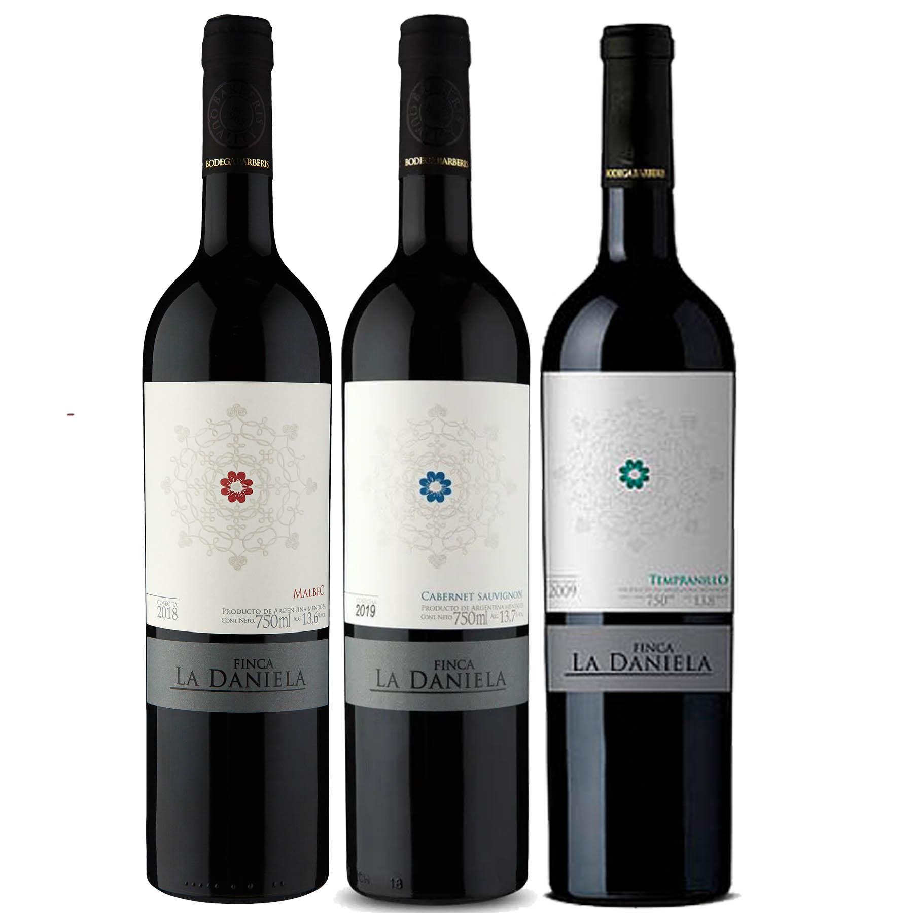 Kit 3 Vinho Tinto Argentino Finca La Daniela Tempranillo/Malbec/Cabernet Sauvignon