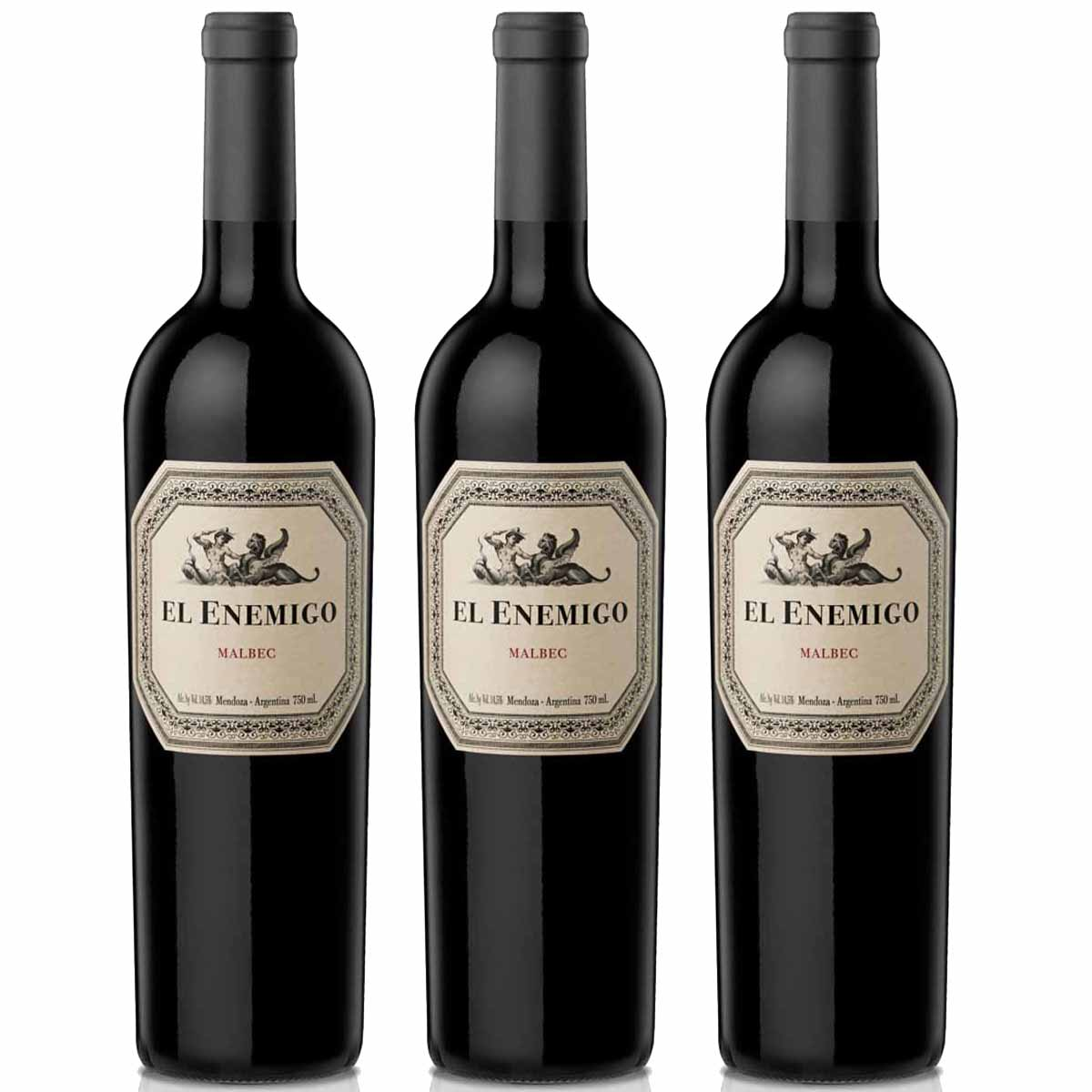 Kit 3 Vinhos Argentino Tinto El Enemigo Malbec 2016 Catena Zapata