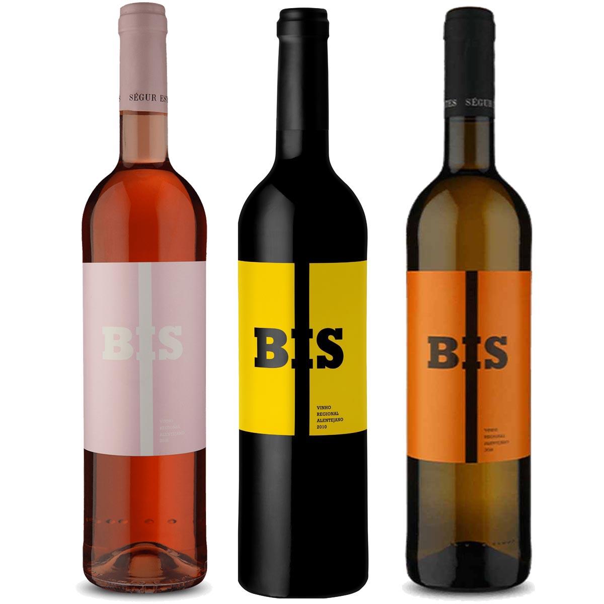 Kit 3 Vinhos Bis Portugueses Branco, Tinto e Rosé 2018