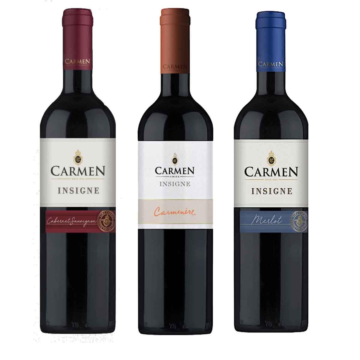 Kit 3 Vinhos Carmen Tinto Chile C. Sauv. Carmenere e Merlot